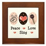 Peace Love Sing Framed Tile