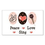 Peace Love Sing Rectangle Sticker 50 pk)