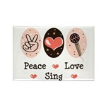 Peace Love Sing Rectangle Magnet (10 pack)