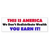 This Is America, You Earn Wealth Bumper Car Sticker