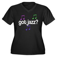 Colorful Got Jazz Women's Plus Size V-Neck Dark T-