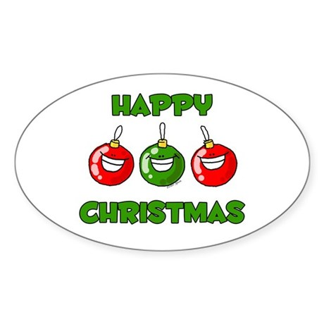 Happy Merry Christmas Oval Sticker