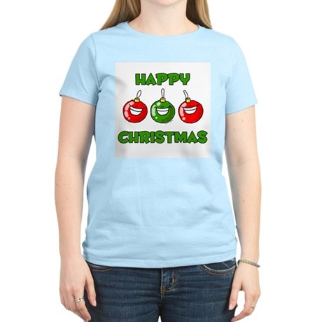 Happy Merry Christmas Women's Pink T-Shirt