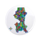 "Brilliant Colors Map of Seattle 3.5"" Button (100 p"