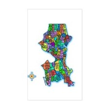 Brilliant Colors Map of Seattle Decal