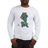 Brilliant Colors Map of Seattle Long Sleeve T-Shir