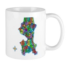 Brilliant Colors Map of Seattle Mug