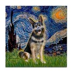 Starry / German Shepherd 10 Tile Coaster