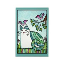 BIRD BRAIN No. 1...Cat Lover Rectangle Magnet