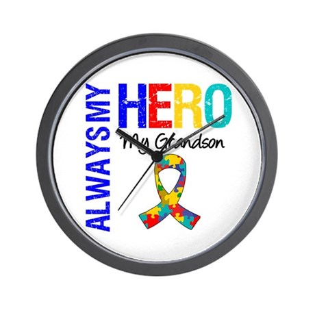 Autism Hero Grandson Wall Clock