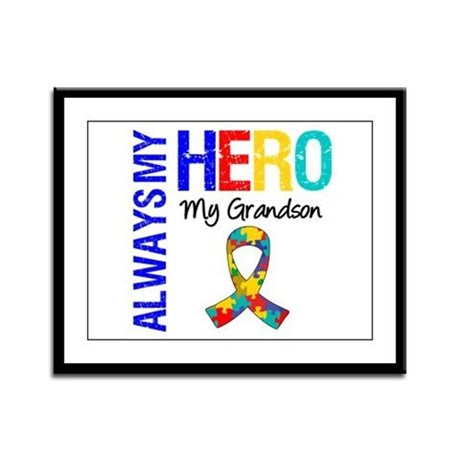 Autism Hero Grandson Framed Panel Print