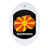 Flag Map of Macedonia Oval Ornament