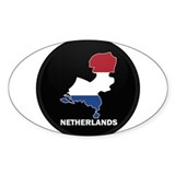 Flag Map of NETHERLANDS Oval Decal