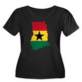 ghana Flag Map Women's Plus Size Scoop Neck Dark T