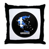 Flag Map of Greece Throw Pillow