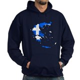 Greece Flag Map Hoodie