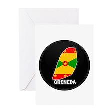 Flag Map of grenada Greeting Card
