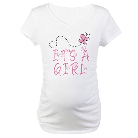 Pink Butterfly It's A Girl Pregnancy Tee