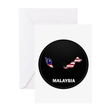 Flag Map of malaysia Greeting Card