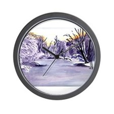 Frozen Pond Winter Landscape Wall Clock