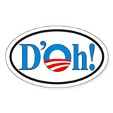 D'oh! Obama Euro Oval Sticker (10 pk)