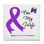 Pancreatic Cancer Wife Tile Coaster