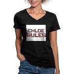 chloe rules Women's V-Neck Dark T-Shirt