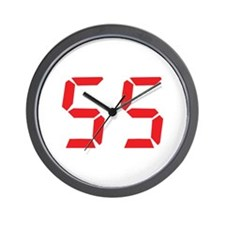 55 fifty-five red alarm clock Wall Clock