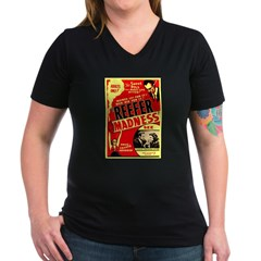 Marijuana Reefer Madness (Front) Women's V-Neck Da