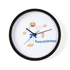 Light Blue Belt Congratulations Wall Clock
