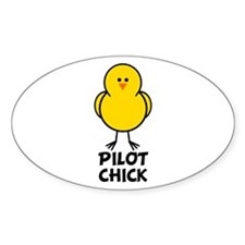 Pilot Chick Oval Decal