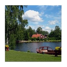Sundborn Lake Scene Tile Coaster