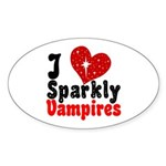 I Love Sparkly Vampires Oval Sticker