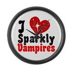 I Love Sparkly Vampires Large Wall Clock