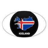 Flag Map of Iceland Oval Decal