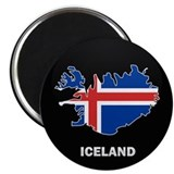 Flag Map of Iceland Magnet