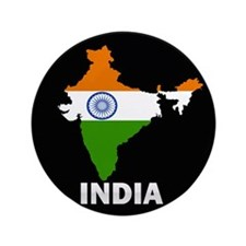 "Flag Map of India 3.5"" Button"