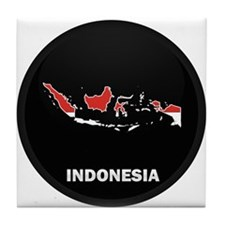 Flag Map of Indonesia Tile Coaster
