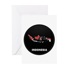 Flag Map of Indonesia Greeting Card
