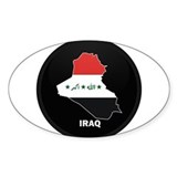 Flag Map of Iraq Oval Decal