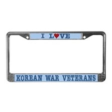 I Love Korean War Veterans License Plate Frame