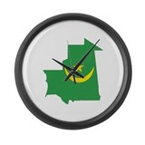 Mauritania Flag Map Large Wall Clock