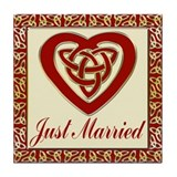 Celtic Heart Wedding Set Tile Coaster