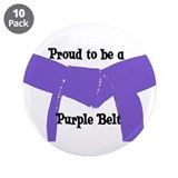 "Proud to be a Purple Belt 3.5"" Button (10 pack)"