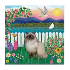 Garden Shore / Himalayan Cat Tile Coaster