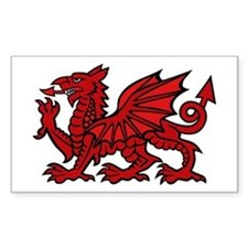 Red Welsh Dragon Rectangle Decal