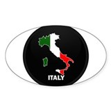 Flag Map of Italy Oval Decal