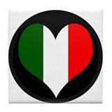 I love Italy Flag Tile Coaster