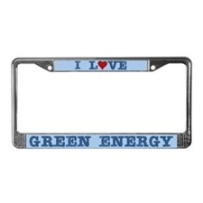 I Love Green Energy License Plate Frame