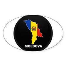 Flag Map of Moldova Oval Decal